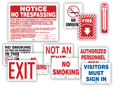 Facility Safety Signs