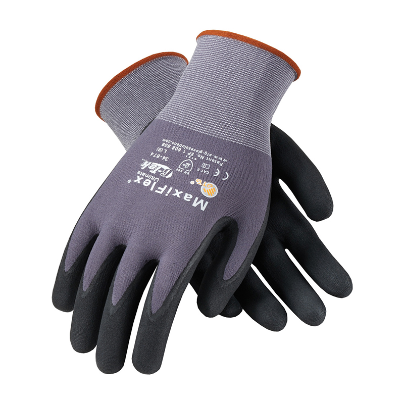 Palm Coated Nitrile Gloves