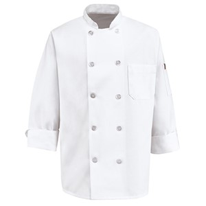 Deluxe Polyester Ten Pearl Button Chef Coat
