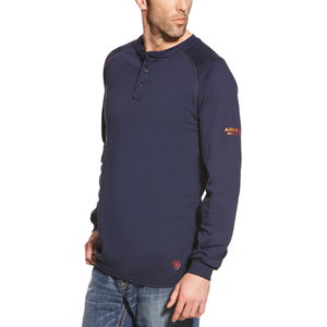 Ariat FR Long Sleeve Work Henley in Navy