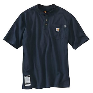 FR FORCE Cotton Short-Sleeve Henley in Navy