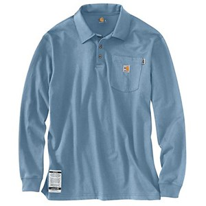 Carhartt FR FORCE Cotton Long-Sleeve Polo in Medium Blue