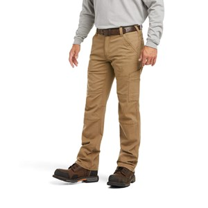 Ariat FR M5 Slim Stretch DuraLight Canvas Stackable Straight Let Pant in Field Khaki