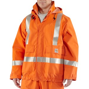 Carhartt Flame Resistant Rain Jacket with Reflective Striping