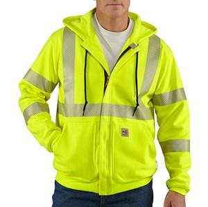 FR Hi-Vis Zip-Front Hooded Sweatshirt - ANSI Class 3