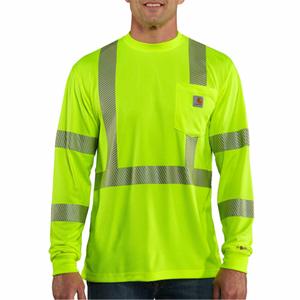 Force Class 3 Hi-Vis Long Sleeve T-Shirt  - Bright Lime