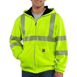 Carhartt Class 3 Hi-Vis Zip-Front Thermal-Lined Sweatshirt in Bright Lime