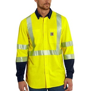 FR Hi-Vis Force Hybrid Shirt in Bright Lime