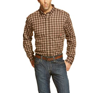 Ariat FR Plaid Work Shirt in Coffee Bean