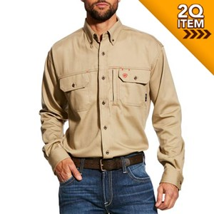 Ariat FR Solid Vent Shirt in Khaki