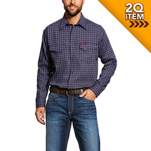 Ariat FR Plainview Snap Work Shirt in Navy