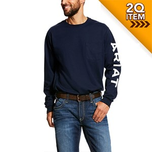 Ariat FR Pocket Crew Logo T-Shirt in Navy