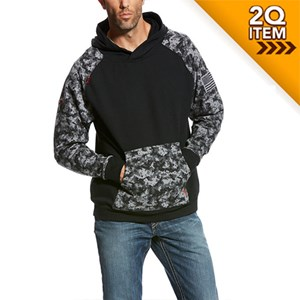 FR DuraStretch Patriot Hoodie in Black / Digital Camo