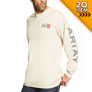 Ariat FR Logo Long Sleeve Tee in Sand