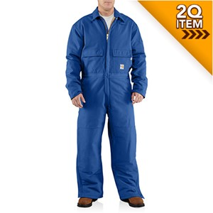 Carhartt Quilt-Lined FR Coveralls in Royal Blue