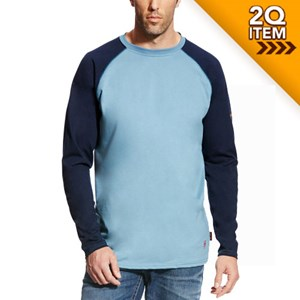 Ariat FR Baseball Tee in Steel Blue