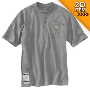 FR FORCE Cotton Short-Sleeve Henley in Light Gray