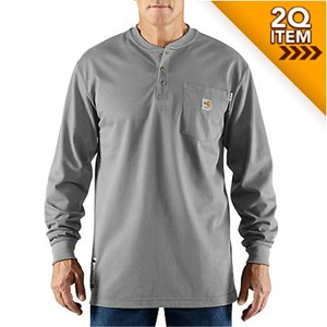 Long-Sleeve Carhartt Force FR Henley in Light Gray