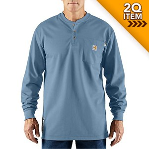 Moisture Wicking FR Henley in Medium Blue