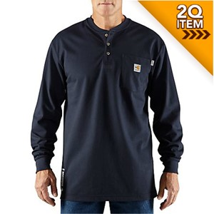 Force FR Cotton Long-Sleeve Henley in Navy