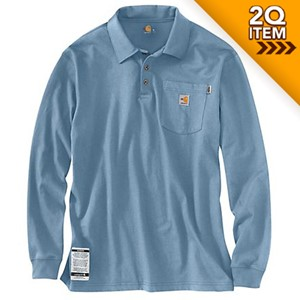 Carhartt FR Long Sleeve Polo in Medium Blue