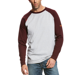 Ariat FR Baseball Tee in Heather Gray/Malbec