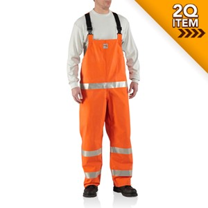 Carhartt FR Rainwear Bib Overall in Bold Orange