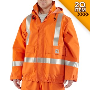 Carhartt FR Rain Jacket in Bold Orange