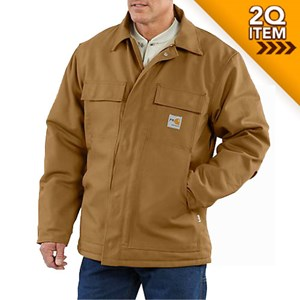 Carhartt FR Duck Traditional Quilt-Lined Coat in Brown - SM & LG ONLY