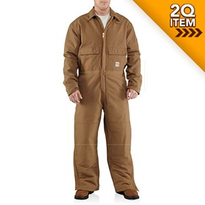 Carhartt Quilt-Lined FR Duck Coverall in Carhartt Brown