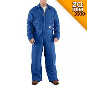 Carhartt Quilt-Lined FR Duck Coverall in Royal Blue