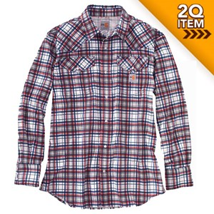 Carhartt FR Snap-Front Plaid Shirt in Navy