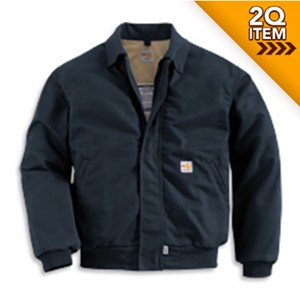 Lined Flame Resistant Bomber Jacket in Navy Blue