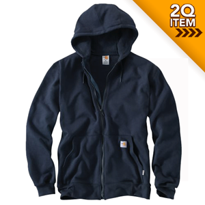 Heavyweight FR Zip Front Sweatshirt in Navy Blue
