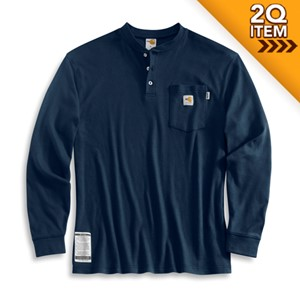 Carhartt Flame Resistant Henley Shirt in Navy Blue