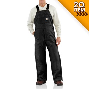 Flame Resistant Duck Bib Overall in Black