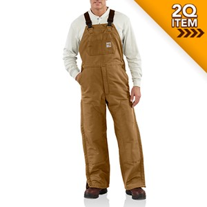 Flame Resistant Duck Bib Overall in Carhartt Brown