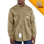 Moisture Wicking Twill Shirt in Khaki