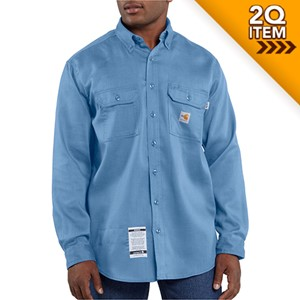 Carhartt FR Moisture Wicking Twill Shirt in Medium Blue