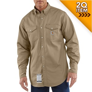 Carhartt FR Snap-Front Work Shirt in Khaki