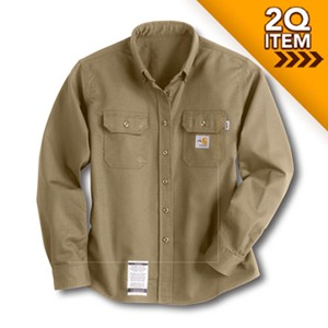 Carhartt Womens Flame-Resistant Twill Shirt in Khaki