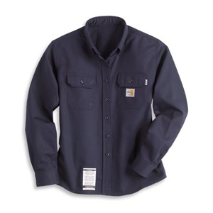 Carhartt Womens Flame-Resistant Twill Shirt in Navy