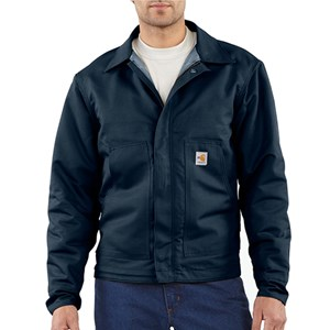 Quilt-Lined FR Midweight Canvas Dearborn Jacket in Navy