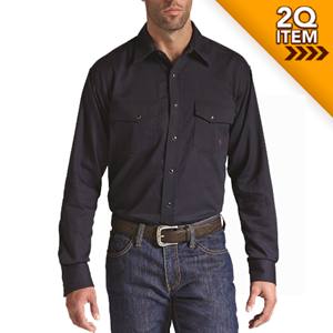 Ariat FR Solid Work Snap Shirt in Navy