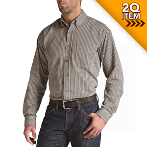 Ariat FR Stripe Work Shirt in Coffee Bean