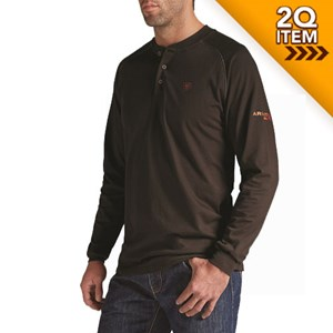 Ariat FR Long Sleeve Work Henley in Coffee Bean