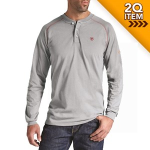 Ariat FR Long Sleeve Work Henley in Silver