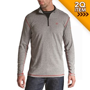 Ariat FR Polartec 1/4 Zip Baselayer in Gray