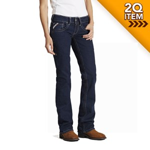 Women's Ariat FR Mid Rise Boot Cut Jean in Night Sky