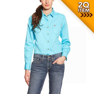 Women's FR Block Work Shirt in Turquoise
